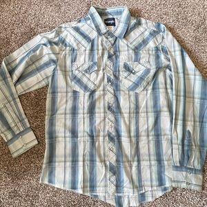 WRANGLER BUTTON-Up Plaid Shirt (XL)